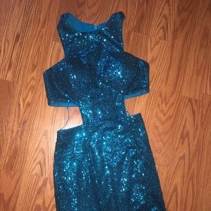 Faviana : Long Sequined Side Cut Out Dress